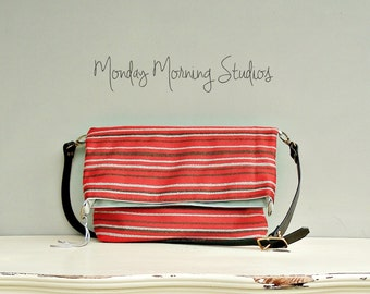 Baja Hippie Messenger Bag - Foldover Crossbody Purse - Red Cotton Messenger Bag - Custom Length Leather Strap -  Converts to Tote