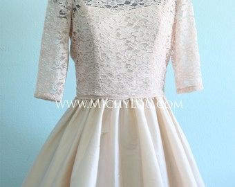 Blush lace wedding cut out dress lace bodice and taffeta skirt, heart cutout back - Other COLORS Available - AMANDA style