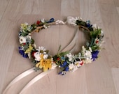 Bridal flower crown September Wedding halo accessories multi color Wildflower hair wreath -set of 4- blue yellow red custom for Samantha