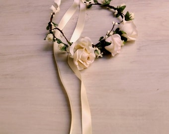 blush ivory Bridal Woodland flower crown headpiece Wedding party Hair wreath Accessories rose headband hair flowers artificial floral halo