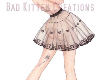 """Vintage Style Pinup girl art """"The Lace Skirt"""". Hand finished art print."""