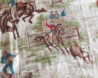 Vintage Cowboys Rodeo Set of Curtains 2 Panels