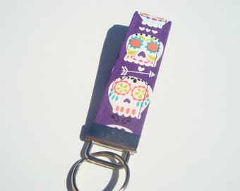 Wristlet Key Fob / Key Chain - Bonehead, Sugar Skull in Purple