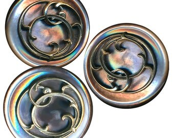 Button--ONE Late 19th C. Art Nouveau Brass Over Iridescent Pearl--3 Views
