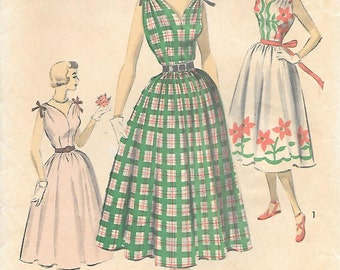 Advance 5627 1950s Shoulder Tie Sundress with Full Skirt Vintage Sewing Pattern Size 12 Bust 30 V Neck Sleeveless Dress
