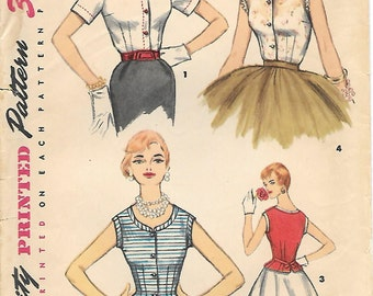 Simplicity 1090 1950s Scoop Neck Fitted Bodice Blouse Vintage Sewing Pattern Size 12 Bust 30 Sleeveless Dart Fitted