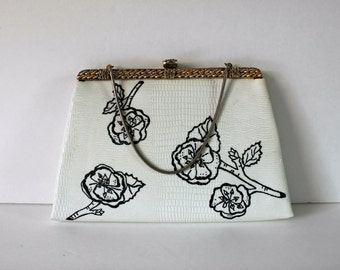 Vintage white Clutch with hand painted cherry blossoms / Wedding Purse / Prom Purse / Vintage Clutch / Cherry Blossoms / handbag
