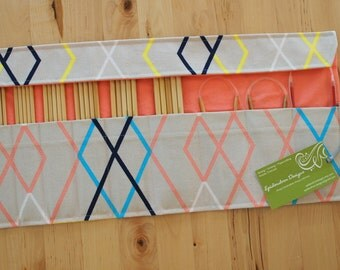LAST ONE Double Pointed Needle DPN & Circular Needle Organizer / Case / Holder - Geometric Print Fabric