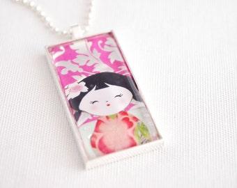 kokeshi doll necklace, kawaii kokeshi doll jewelry, domino necklace, hot pink, silver