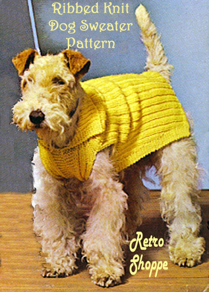 Vintage 3 Size Rib Knit Dog Sweater Pattern fits Airedale