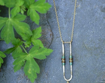 Minimal Delicate Gold Fill Hematite and Apatite Necklace
