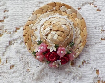 Straw Hat Magnet Embellished with Hand Sewn Red Roses, Pink Flowers, Ivory Sequin Flowers / Glass Beads, Victorian, Vintage Lace