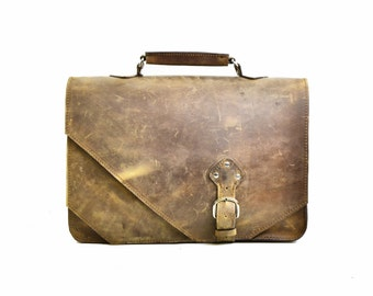 Leather Briefcase Men - Messenger Bag Distressed Brown Leather Men's Carryall Briefcase Travel Adventure Satchel