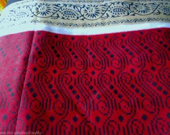 Red Geometric Print Indian Sari Fabric, Indian Ikat Print Saree By The Yard, Floral Border Saris, Indian Fabrics, Unique Block Print Fabric