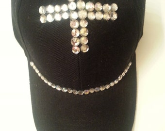 Black Rhinestone  Baseball Cap with Cross