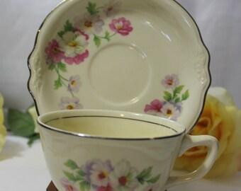 Vintage Homer Laughlin Virginia Rose, Fluffy Rose Pattern Cup & Saucer