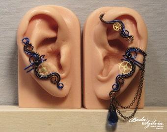 mad scientist STEAMPUNK EAR WRAP & ear cuff set - gear ear cuff, steampunk jewelry, no piercing ear cuff, steampunk ear cuff, blue steampunk