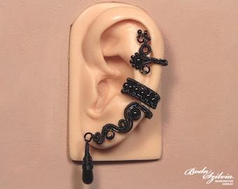 GOTHIC EAR CUFF 'Midnight' - gothic ear cuff, black ear cuff, no piercing ear cuff, adjustable ear cuff, gothic jewelry, black ear wrap