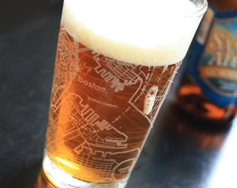 Boston Map Pint Glass