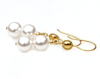 Pearl Earrings Gold Dangles Creamy White Swarovski Double Pearls Classic Bride Wedding Elegance Couture High Fashion Art Deco by Mei Faith
