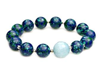Blue Larimar Bracelet Azurite Malachite Blue Green Silver STATEMENT Beaded Bracelet High Fashion Cool Celebrity Style Mei Faith