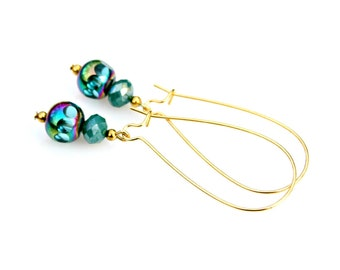 Crystal Dangle Earrings Turquoise Teal Blue Green Sparkle Shimmer Gold Earrings Everday High Fashion Modern Style by Mei Faith