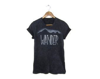 Wander Tee - Boyfriend Fit Crew Neck Tshirt with Rolled Cuffs in Black Mineral Wash and White - Women's S-3XL