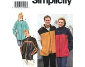 Adult Fleece Jacket or Vest Pattern Simplicity 8231 Zipper Hoodie Jacket Side Pockets Mens or Womens Sewing Pattern Unisex Size L XL UNCUT