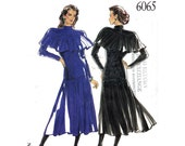 Womens Dress Pattern New Look 6065 Dramatic Drop Waist Dress Capelet Overlay Womens Sewing Pattern Size 8 to 18 UNCUT
