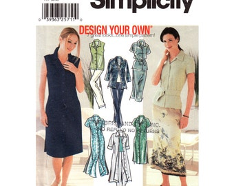 Womens Sewing Pattern Simplicity 7162 Shirt Dress Two Lengths, Shirt, Skirt & Pants Trousers Design Your Own Womens Size 6 8 10 12 UNCUT