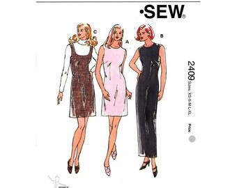 Maxi Dress Pattern & Jumper Pattern Kwik Sew 2409 Fitted Sleeveless Dress, Scoop Neck Jumper Women Sewing Pattern Size XS to XL