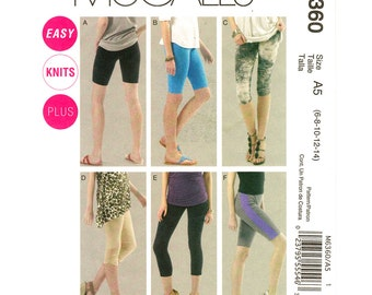 Womens Leggings Pattern McCalls 6360 Bike Shorts Yoga Pants Exercise Fitness Wear Womens Sewing Pattern Size 6 to 14 UNCUT