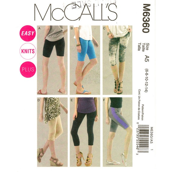 Womens Leggings Pattern McCalls 6360 Bike Shorts Yoga Pants