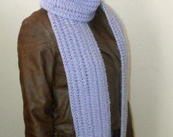 Long Crochet Scarf In Soft Lilac, Women's Crochet Scarf, Handmade Crochet Scarf in Lilac, Free US Shipping by DRCrafts