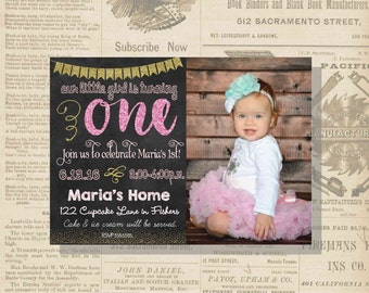 Digital Chalkboard Pink and Gold Glittery Birthday Girl First Photo Invitation Personalized Printable Any Age