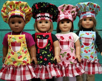 Doll Apron - Doll Clothes - Doll Apron to fit American Girl Doll - Cherry Aprons