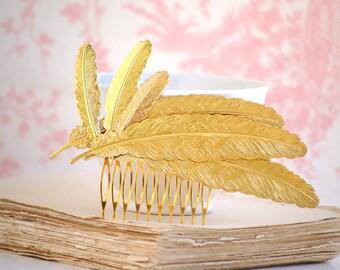 Gold Feather Hair Comb,Gold Hair Comb,Gold Feather,Gold Leaf,Bohemian Feather,Autumn Wedding.Woodland Bridal Hair,Gold Leaf,Gold Headpiece