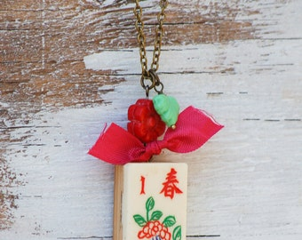Mahjong Pendant, Vintage Game Necklace, Number Pendant, Chinese Game, Bamboo Numerology, Gift for Her, Gambler Chinese, New Year