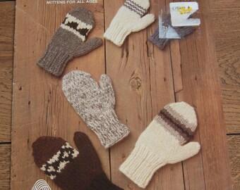 vintage 80s knitting pattern White Buffalo 6541 MITTENS adults children
