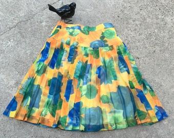 Short Skirt - Blue Floral Yellow Drop Waist Pleated Casual Skirt - Cute and Sassy - Flirty Skirt - Feminine Girlie - 27 Waist