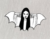 Halloween Mark of the Vampire Luna black and white acrylic brooch