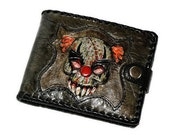 Sale ! Evil clown, Men's wallet, Genuine leather, purse Horror Rock Clown, Halloween, Evil clown, Jester, Zombi, Zombie, Halloween