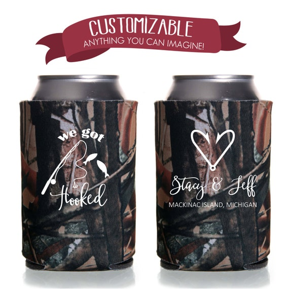 We Got Hooked Fishing Can Coolie, Wedding Favors Fun Wedding Party Gifts Wedding Anniversary Party Gifts Custom Beverage Can Cooler 5D84N15