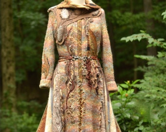 Brown textured Sweater COAT/ Boho Fantasy clothing with beaded appliqués. Size Medium/ Large. Ready to ship