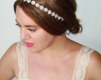 Rhinestone Headband, Bridal headband, Wedding headpiece, Bridal hairpiece, Silver bridal, Wedding Headband, Hair Accessory- Bloom