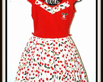Pin up girl Rockabilly Red Cherries Dress  ....... LAST ONE....Size M
