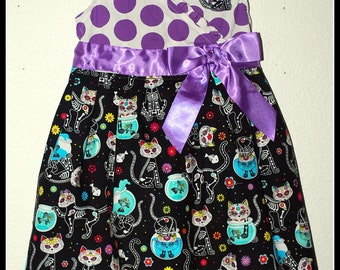 Girls Day of the Dead Kittens and Polka Dots Dress Size 6