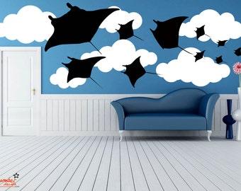 Fantasy Flying Stingray Wall Decal