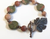 CLEARANCE SALE Unakite and Red Malachite Bracelet, Copper, Earthy, Coral Pink, Green