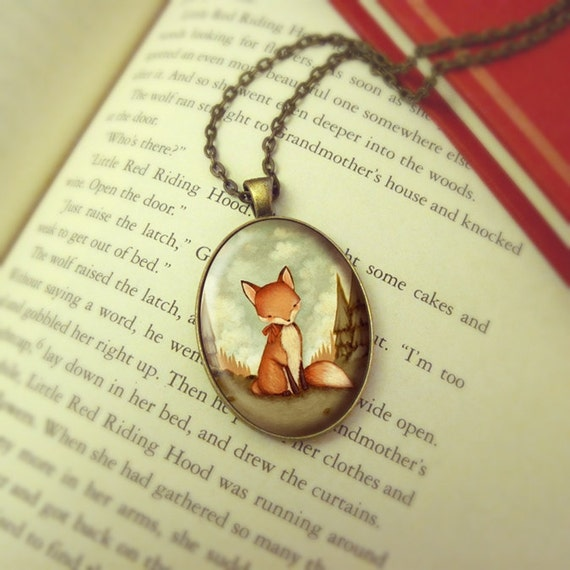 Fox Necklace, Red Fox Jewelry Pendant, Fox Jewellery, Red Fox Pendant, Animal Jewelry, Woodland Necklace Pendant - Little Fox In The Woods
